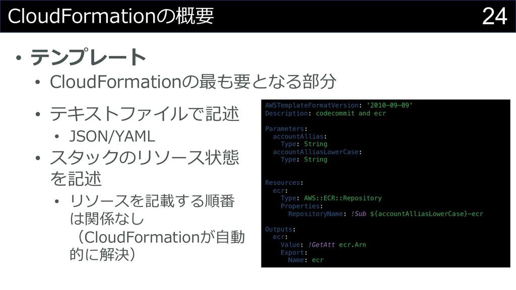 24 CloudFormationの概要 • テンプレート • CloudFormationの...