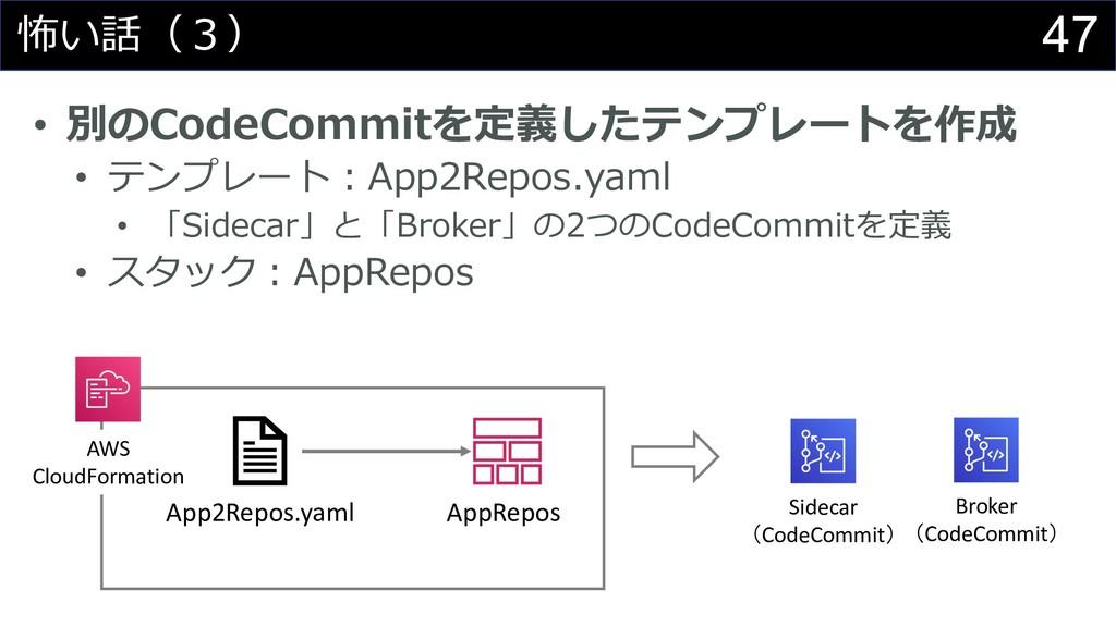 47 怖い話(3) • 別のCodeCommitを定義したテンプレートを作成 • テンプレート...