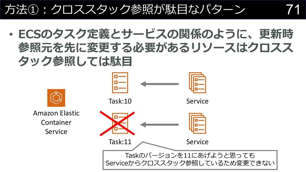 71 ⽅法①︓クロススタック参照が駄⽬なパターン • ECSのタスク定義とサービスの関係のよう...