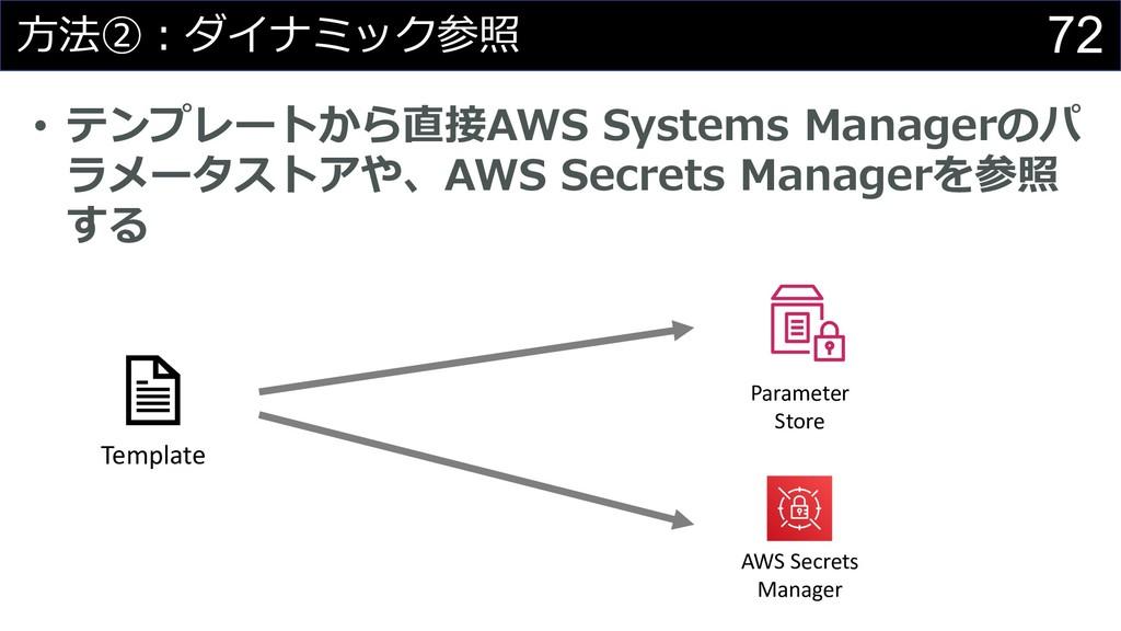 72 ⽅法②︓ダイナミック参照 • テンプレートから直接AWS Systems Manager...