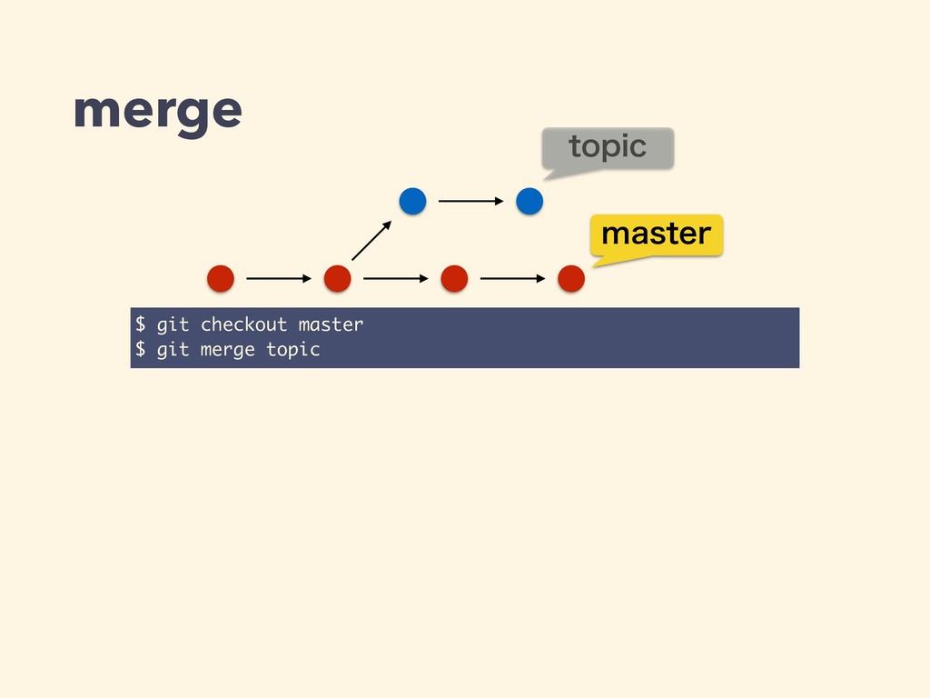 merge $ $ git checkout master $ $ git merge top...