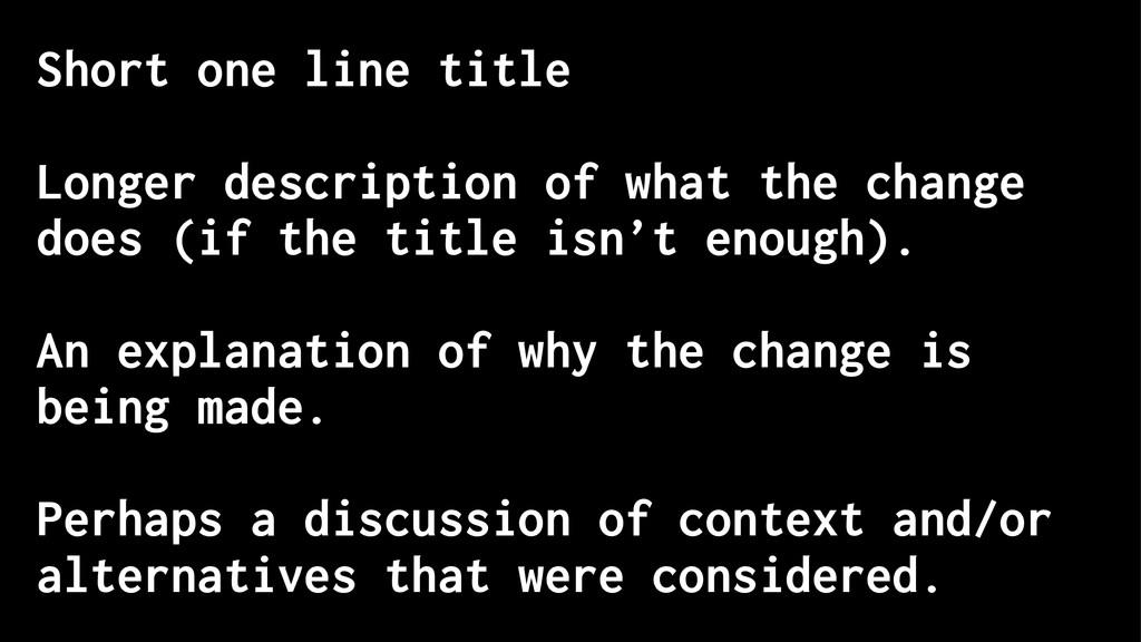 Short one line title Longer description of what...