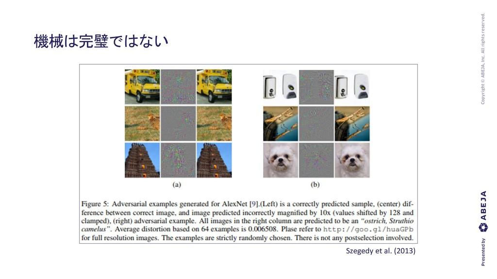 機械は完璧ではない Szegedy et al. (2013)