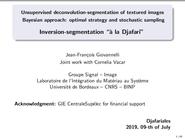 Unsupervised deconvolution-segmentation of text...
