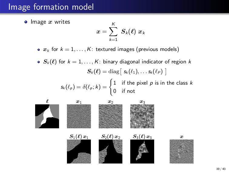 Image formation model Image x writes x = K k=1 ...