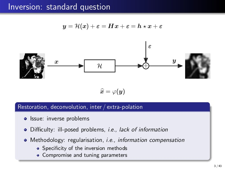 Inversion: standard question y = H(x) + ε = Hx ...