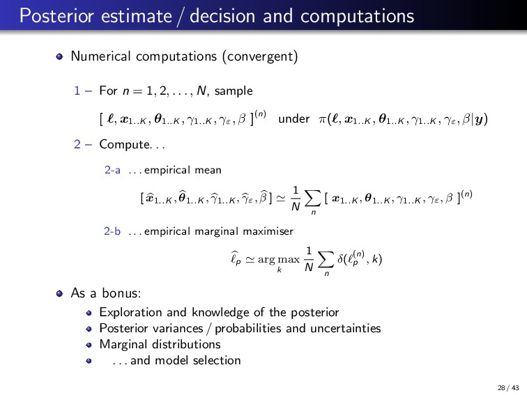 Posterior estimate / decision and computations ...