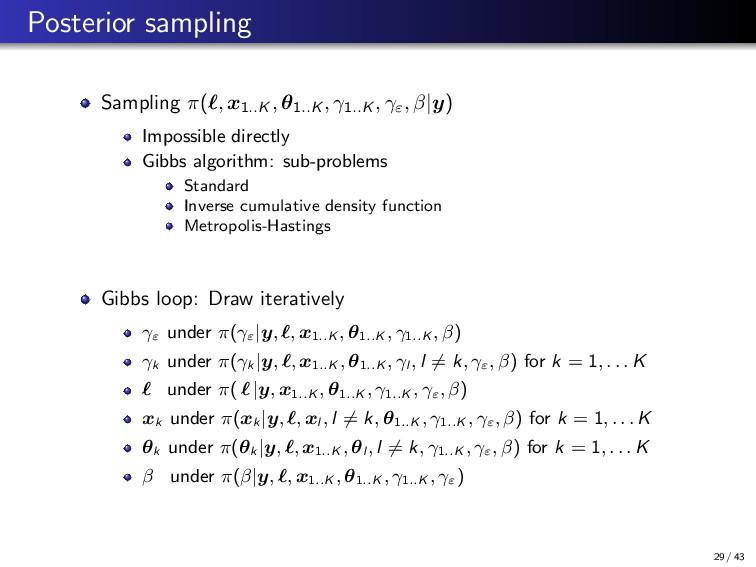 Posterior sampling Sampling π( , x1..K , θ1..K ...