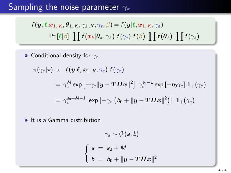 Sampling the noise parameter γε f (y, ,x1..K , ...