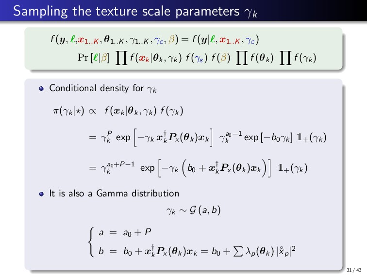 Sampling the texture scale parameters γk f (y, ...