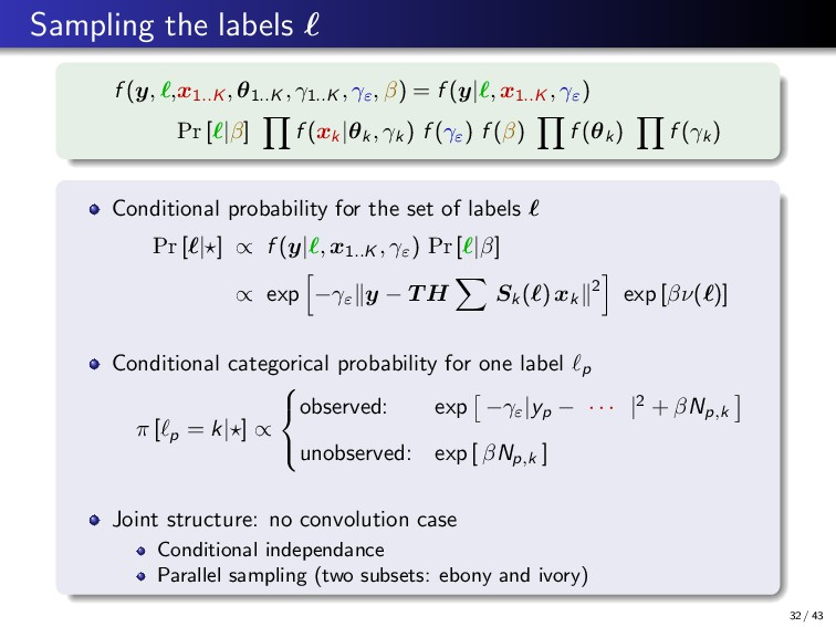 Sampling the labels f (y, ,x1..K , θ1..K , γ1.....