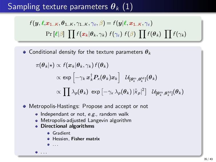 Sampling texture parameters θk (1) f (y, ,x1..K...
