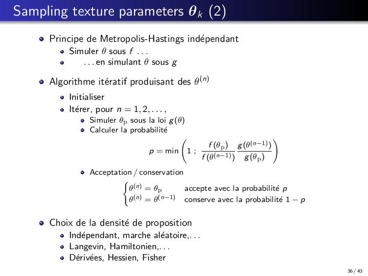 Sampling texture parameters θk (2) Principe de ...