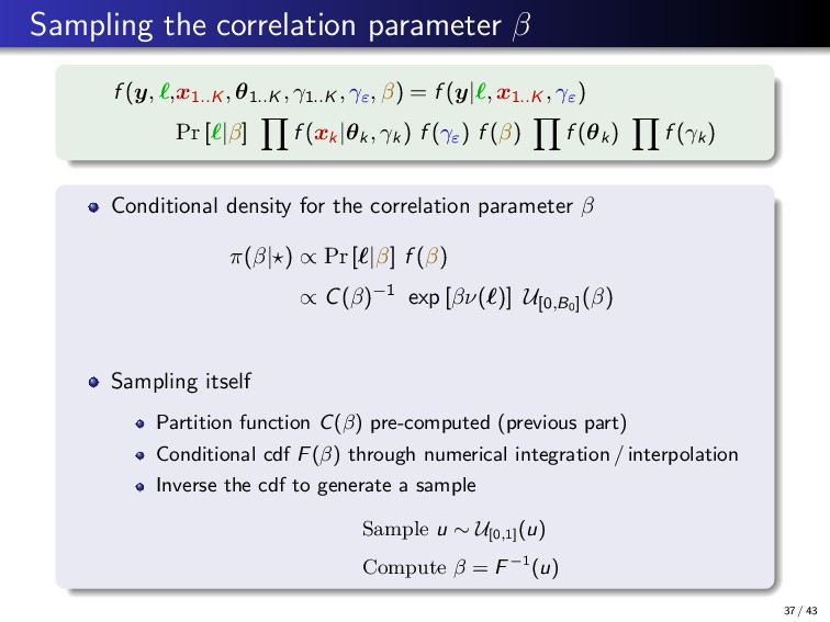 Sampling the correlation parameter β f (y, ,x1....