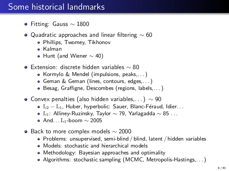 Some historical landmarks Fitting: Gauss ∼ 1800...