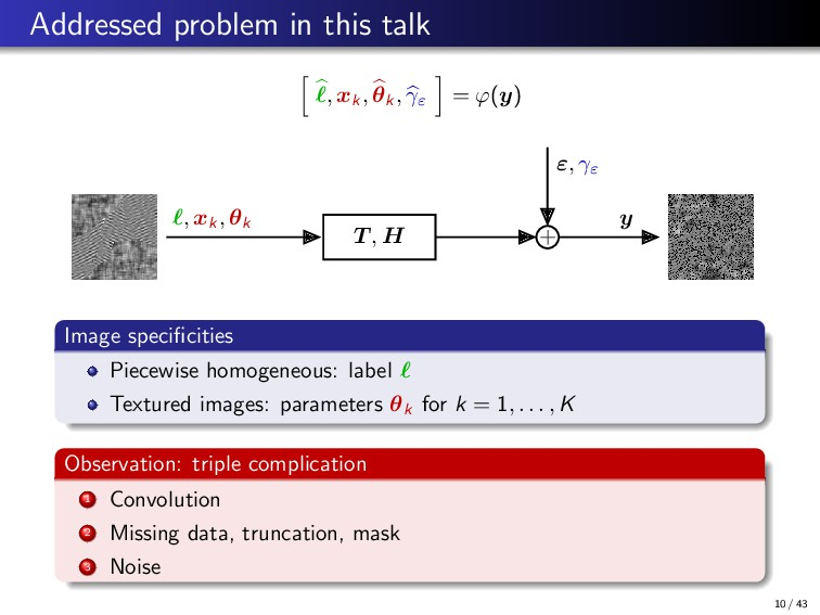 Addressed problem in this talk , xk , θk , γε =...