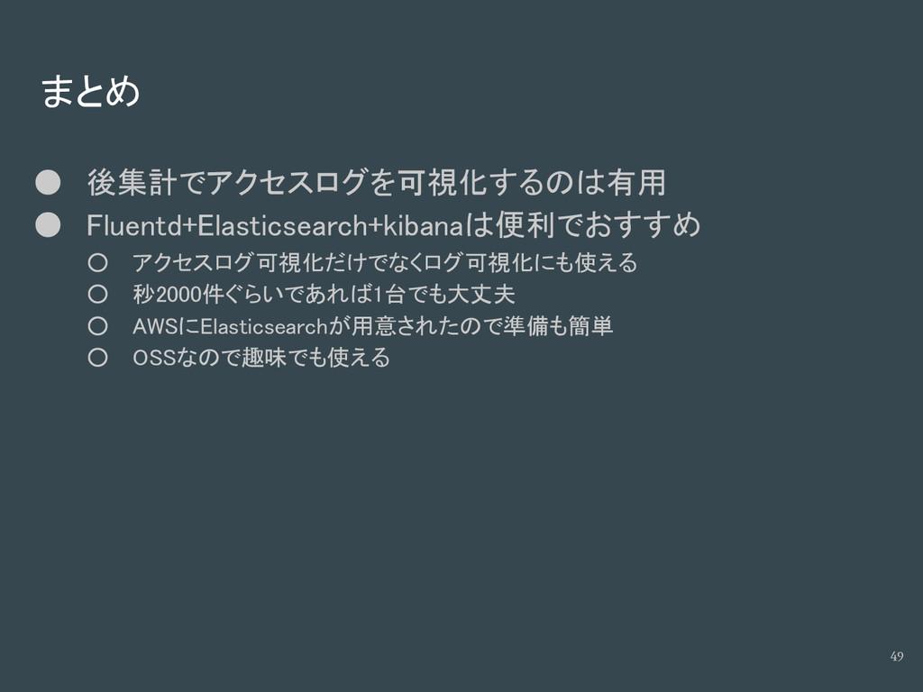 まとめ ● 後集計でアクセスログを可視化するのは有用 ● Fluentd+Elasticsea...