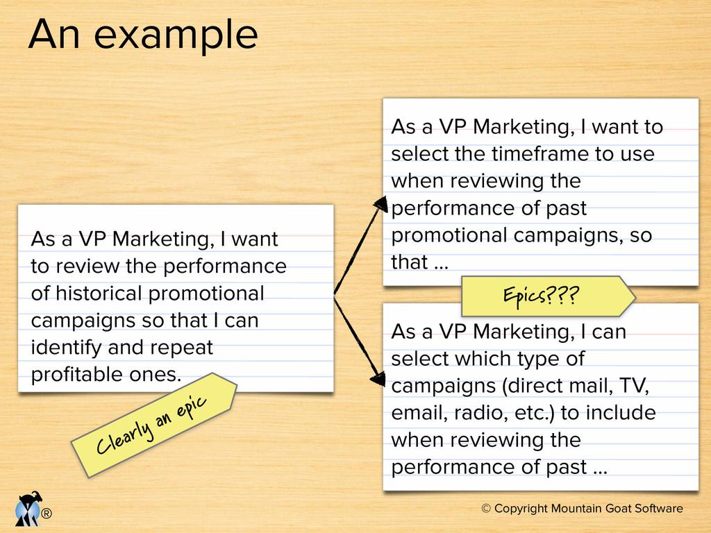 © Copyright Mountain Goat Software ® An example...