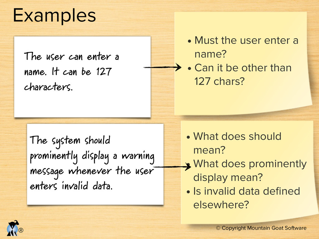 © Copyright Mountain Goat Software ® Examples T...