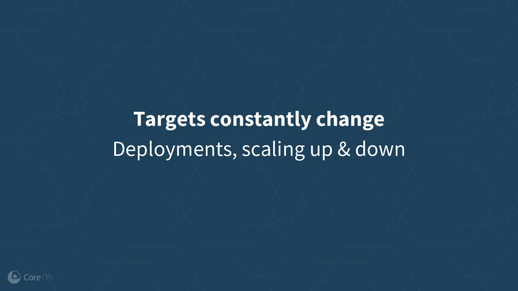Targets constantly change Deployments, scaling ...