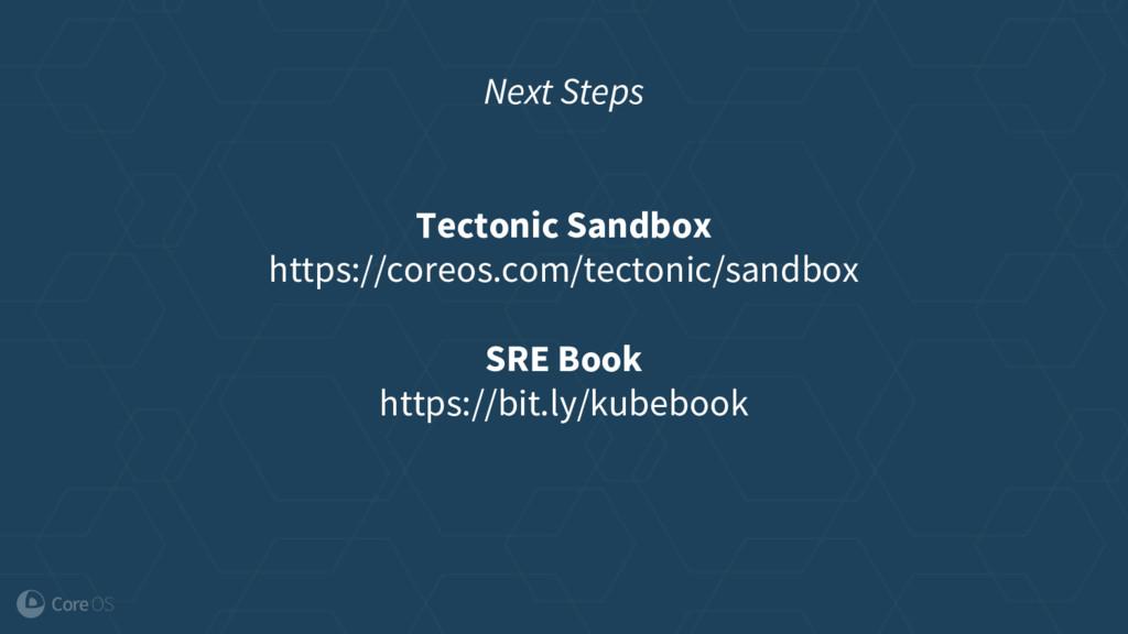 Next Steps Tectonic Sandbox https://coreos.com/...