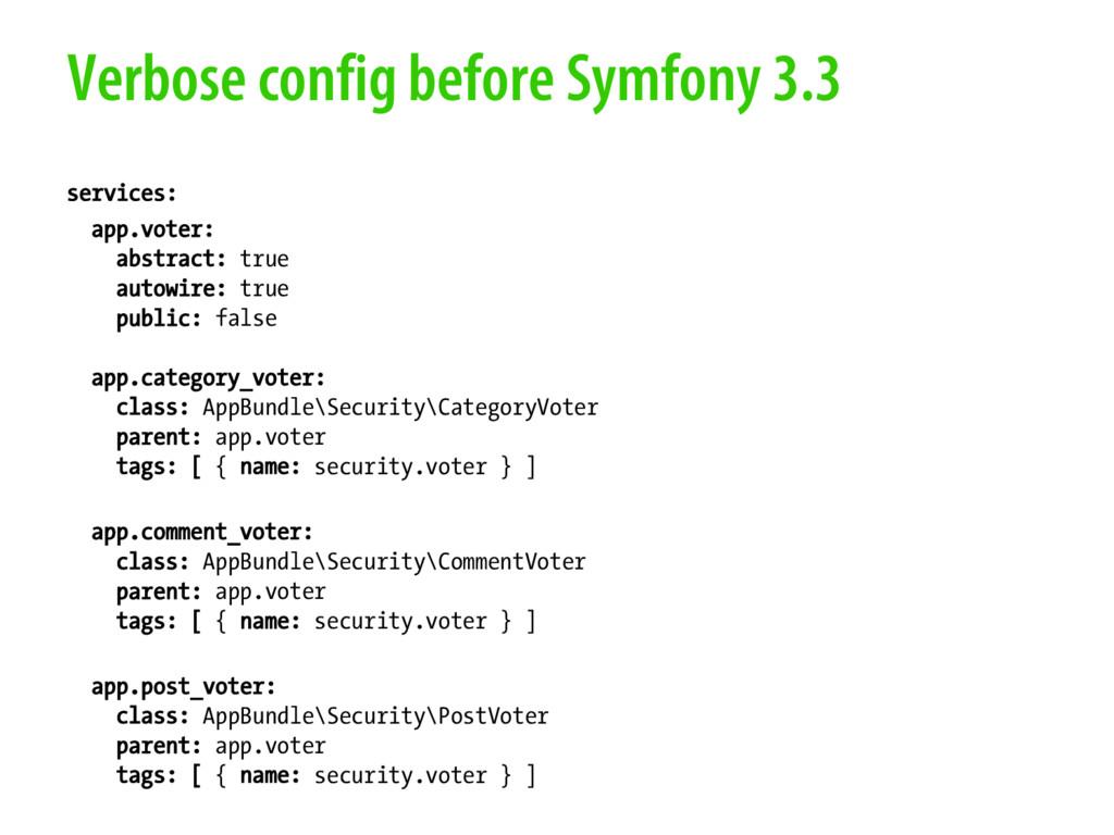 Verbose config before Symfony 3.3 services: app...