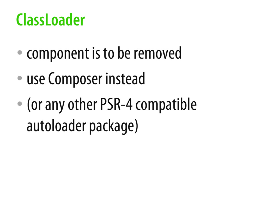 • component is to be removed • use Composer ins...