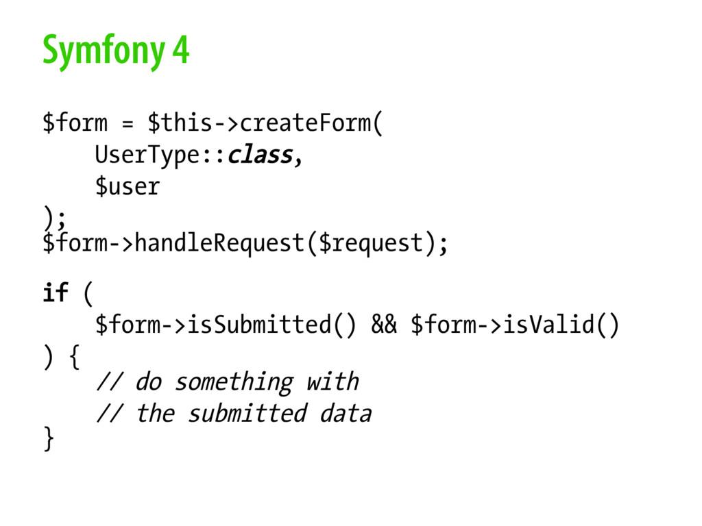 Symfony 4 $form = $this->createForm( UserType::...