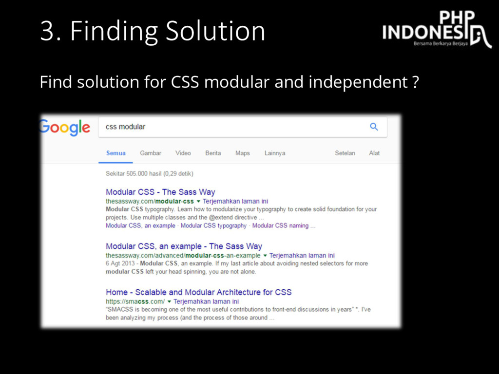 3. Finding Solution Find solution for CSS modul...