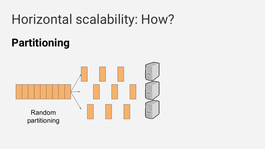 Horizontal scalability: How? Random partitionin...