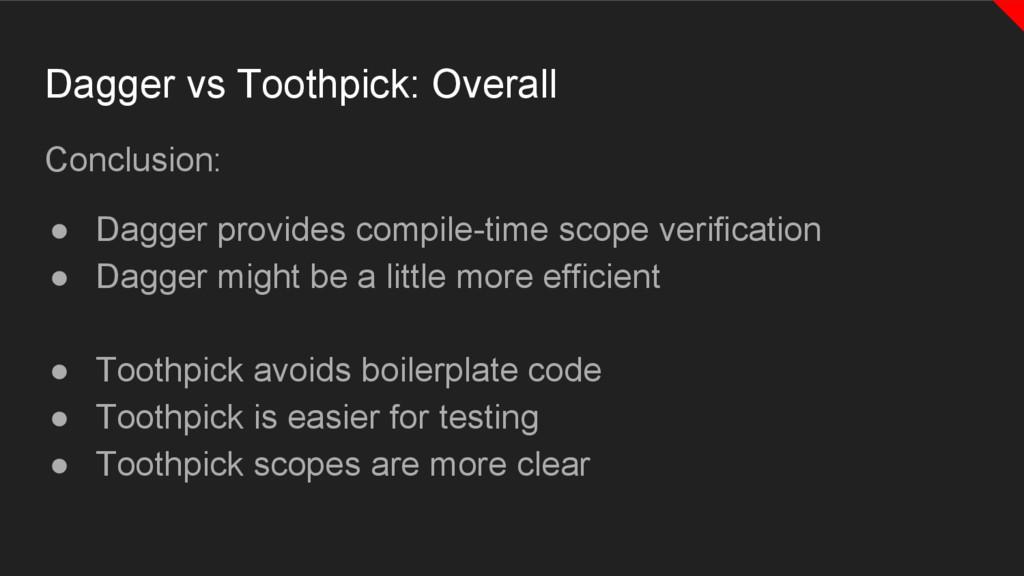 Conclusion: ● Dagger provides compile-time scop...