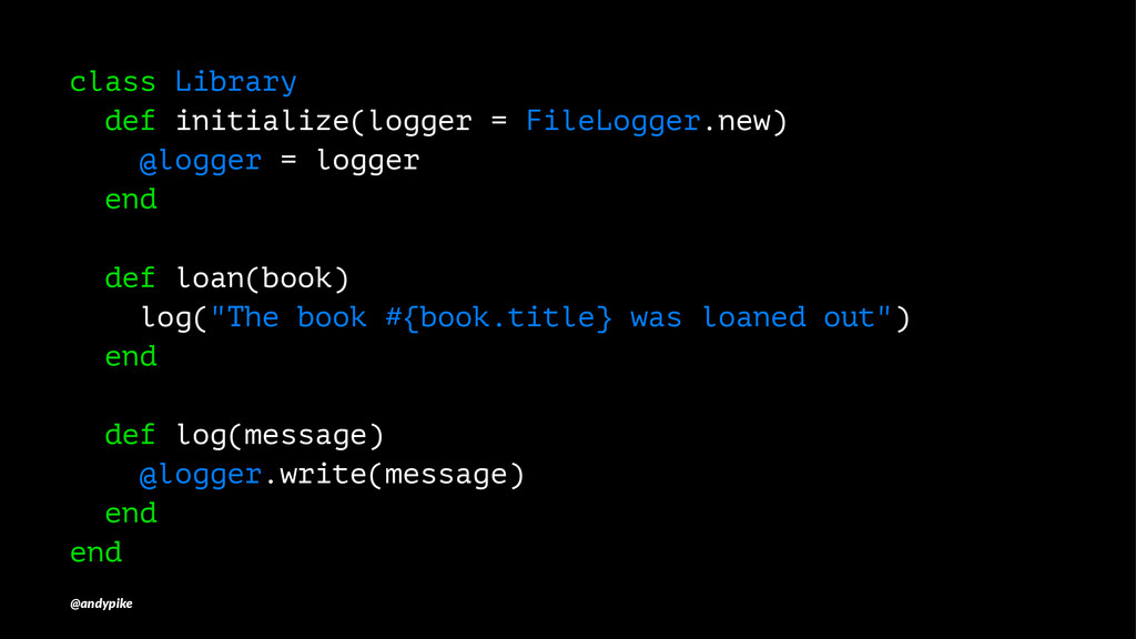 class Library def initialize(logger = FileLogge...