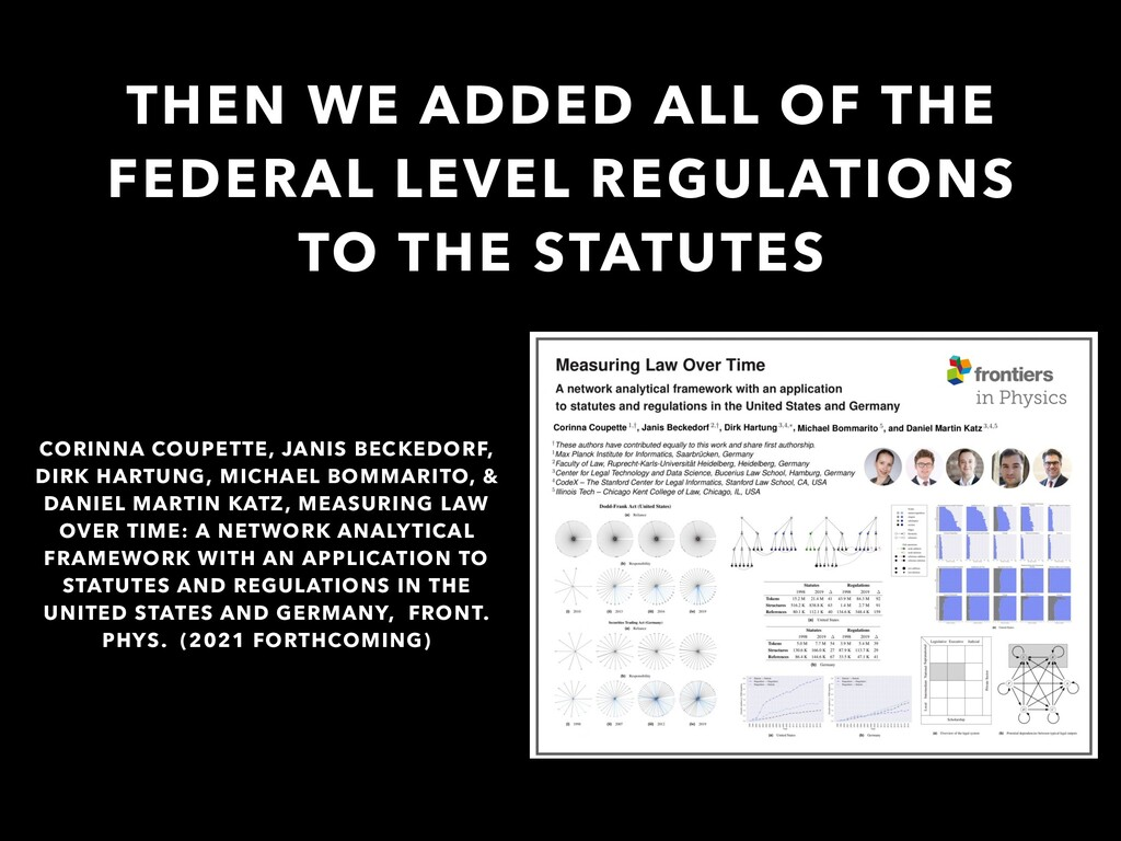 THEN WE ADDED ALL OF THE FEDERAL LEVEL REGULATI...