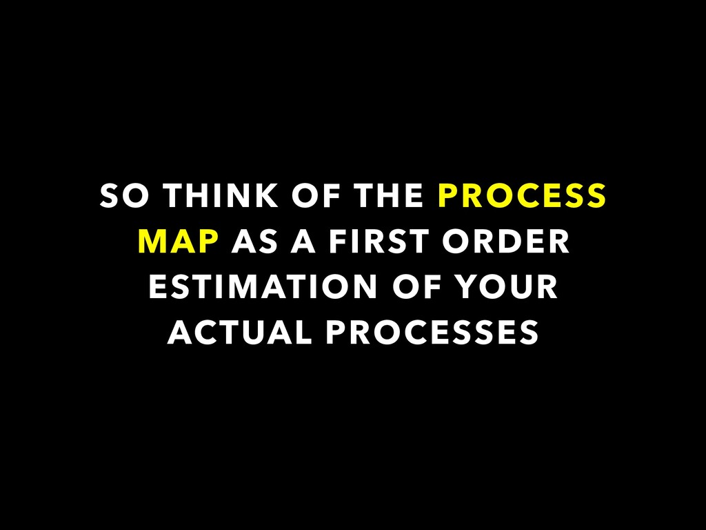 SO THINK OF THE PROCESS MAP AS A FIRST ORDER ES...