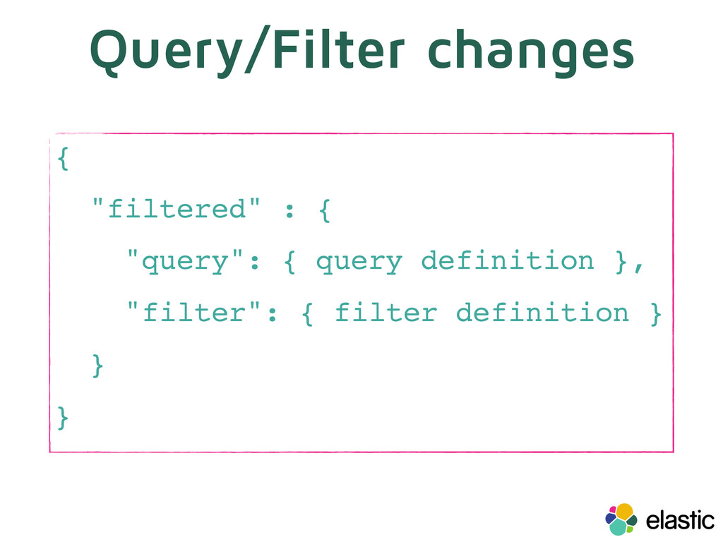 "Query/Filter changes { ""filtered"" : { ""query"": ..."