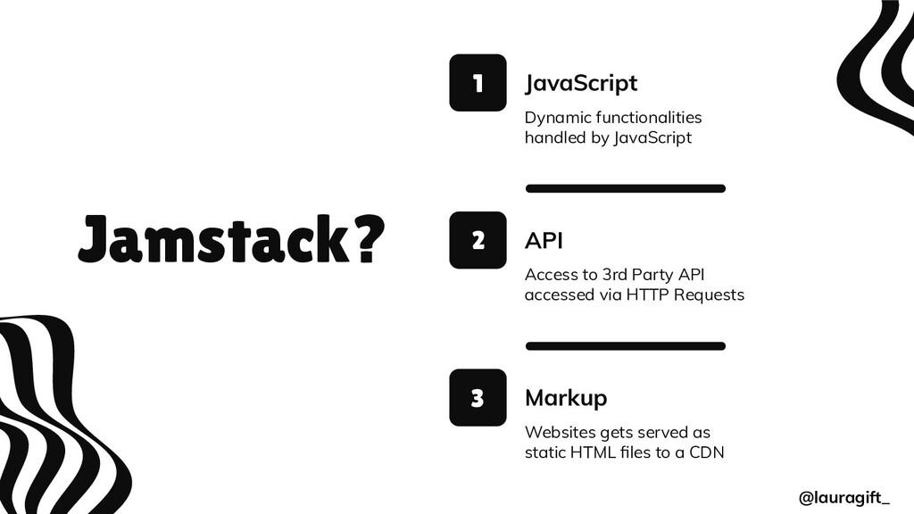 Jamstack? JavaScript 1 2 3 Dynamic functionalit...