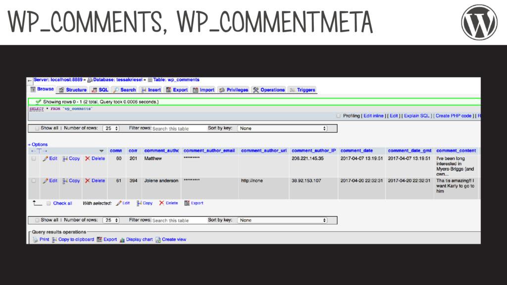 WP_COMMENTS, WP_COMMENTMETA