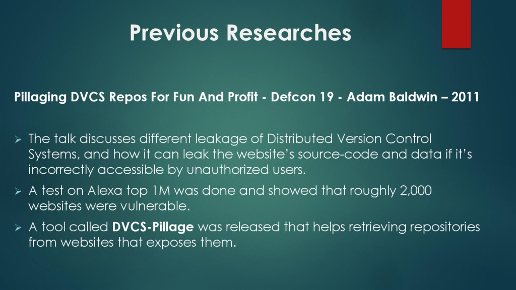 Previous Researches Pillaging DVCS Repos For Fu...