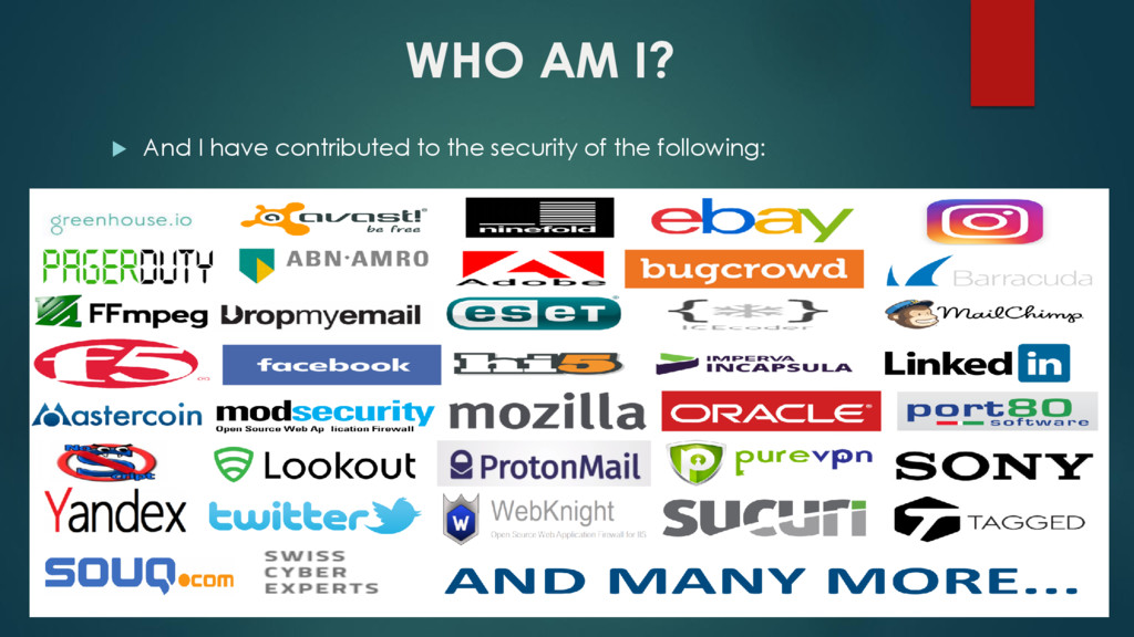 WHO AM I?  And I have contributed to the secur...