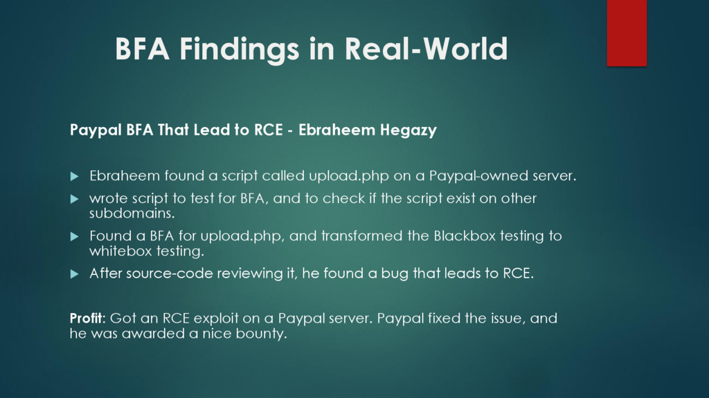 BFA Findings in Real-World Paypal BFA That Lead...