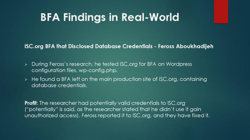 BFA Findings in Real-World ISC.org BFA that Dis...