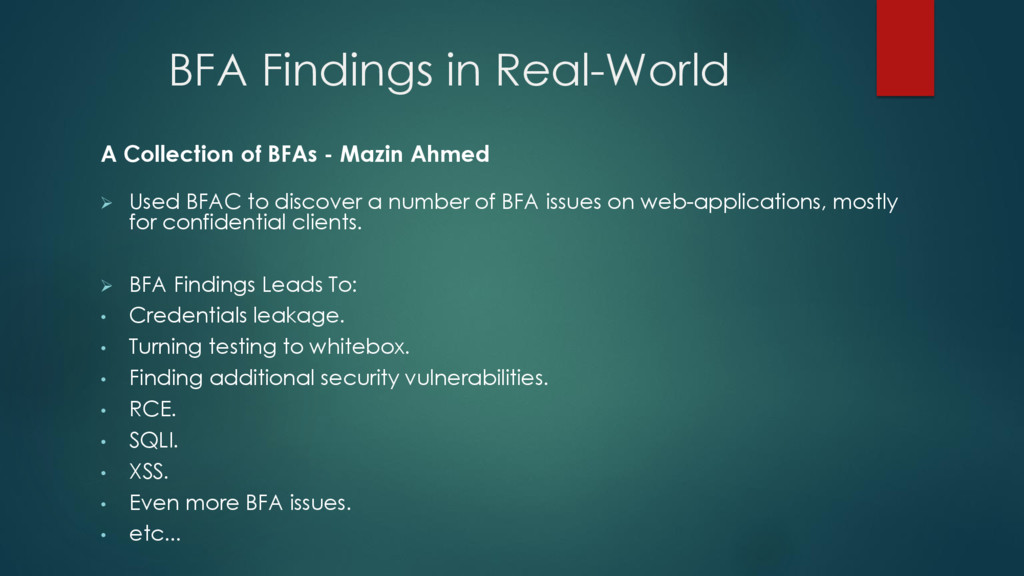 BFA Findings in Real-World A Collection of BFAs...