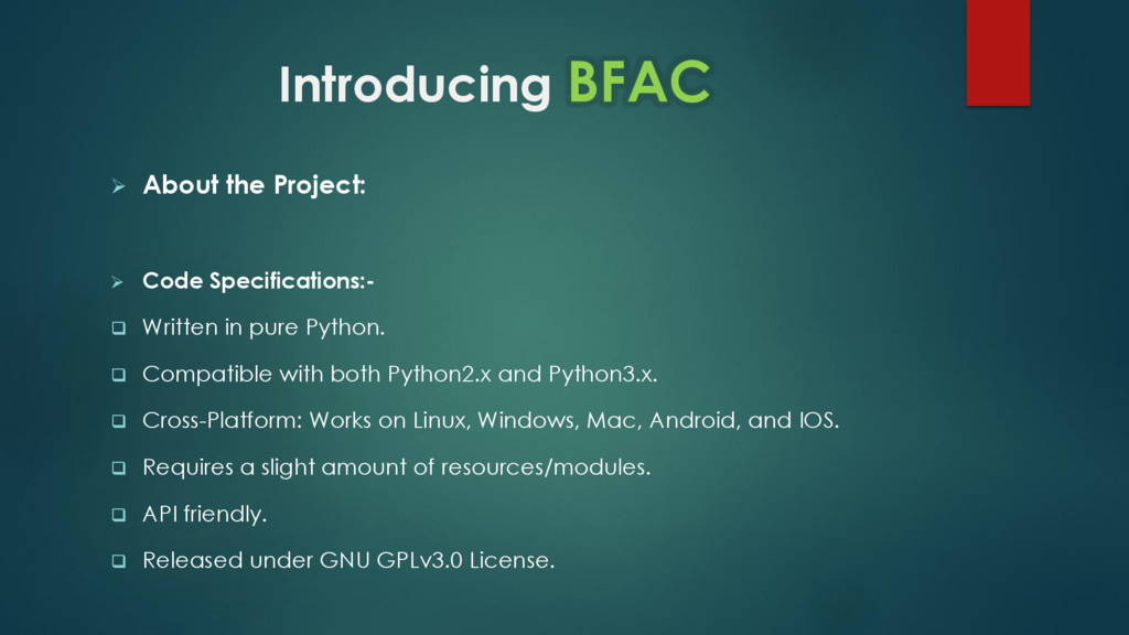 Introducing BFAC  About the Project:  Code Sp...