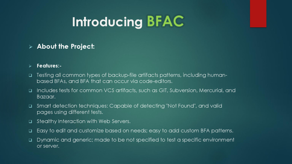 Introducing BFAC  About the Project:  Feature...