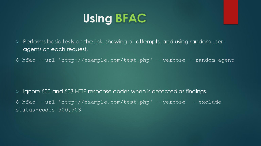 Using BFAC  Performs basic tests on the link, ...