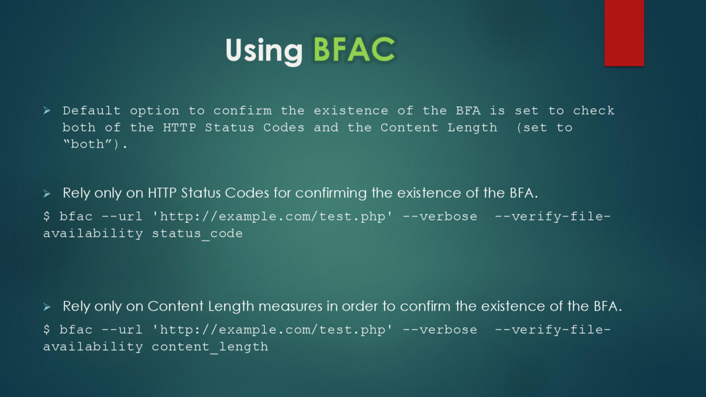 Using BFAC  Default option to confirm the exis...