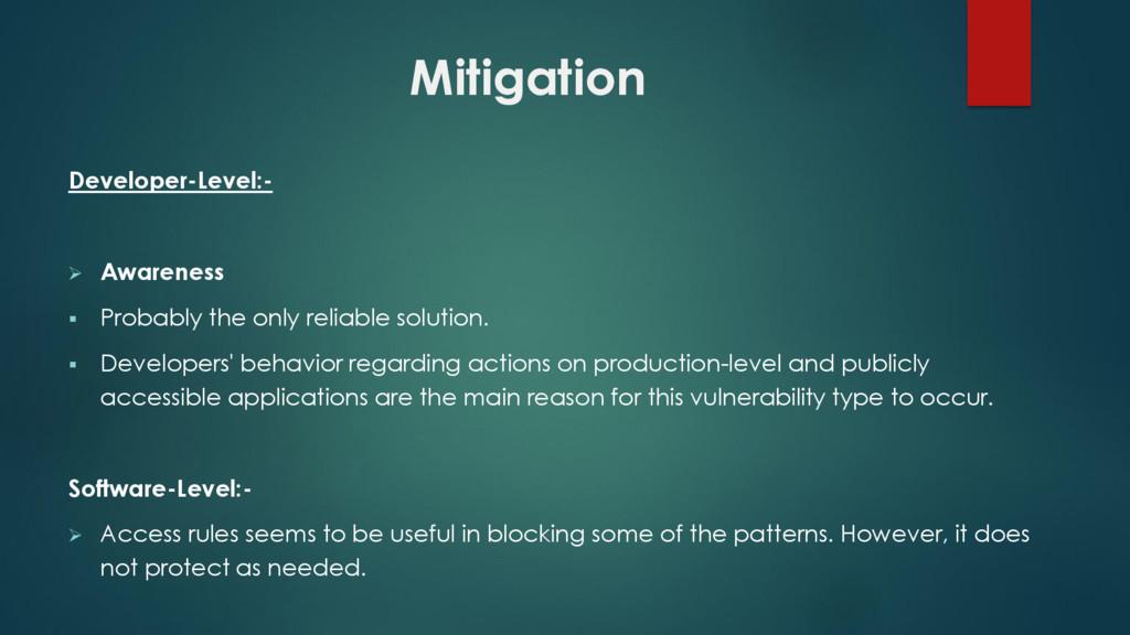 Mitigation Developer-Level:-  Awareness  Prob...
