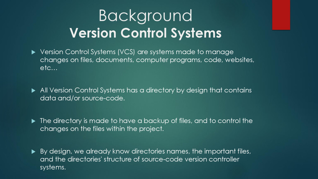 Background Version Control Systems  Version Co...
