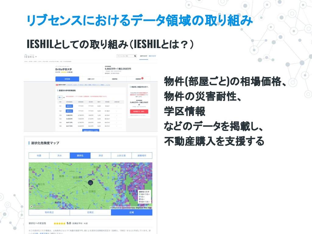リブセンスにおけるデータ領域の取り組み IESHILとしての取り組み(IESHILとは?) 物...