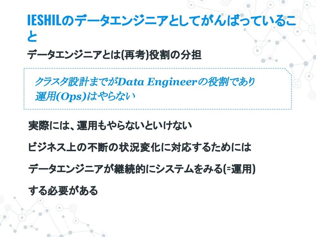 クラスタ設計までがData Engineerの役割であり 運用(Ops)はやらない IESHI...